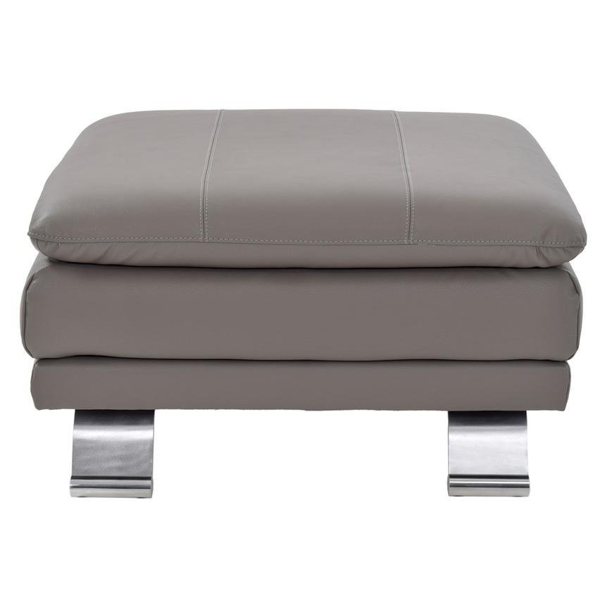 Rio Light Gray Leather Ottoman Made in Brazil  main image, 1 of 5 images.