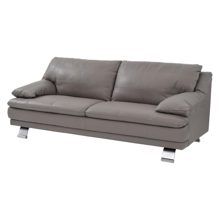 Rio Light Gray Leather Sofa  main image, 1 of 7 images.