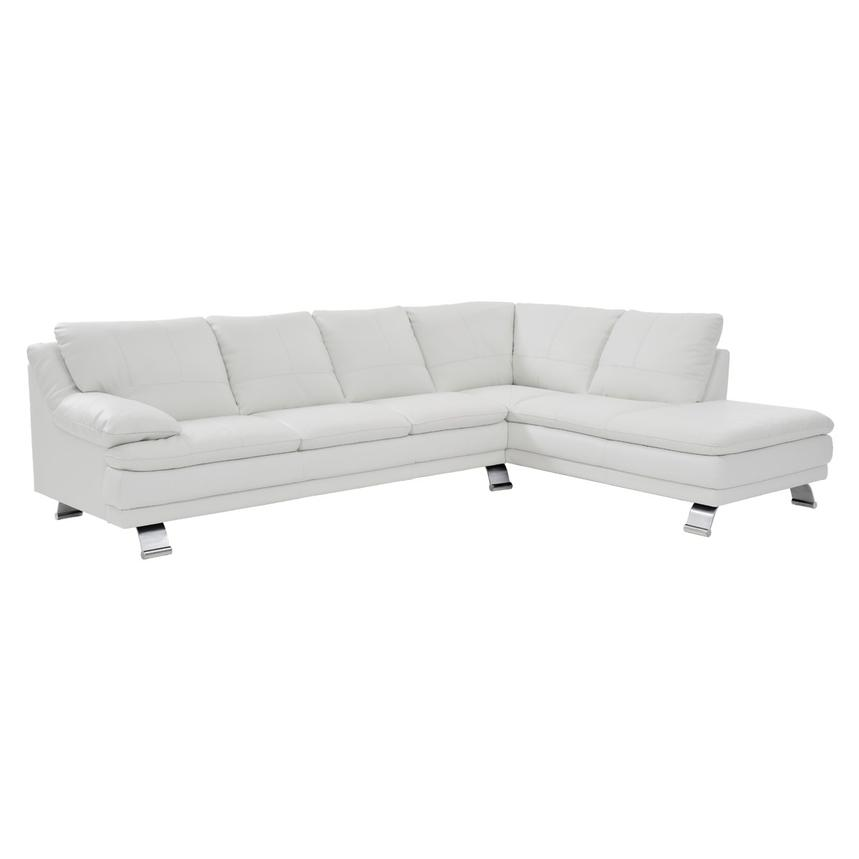 Rio White Leather Sectional Sofa w/Right Chaise