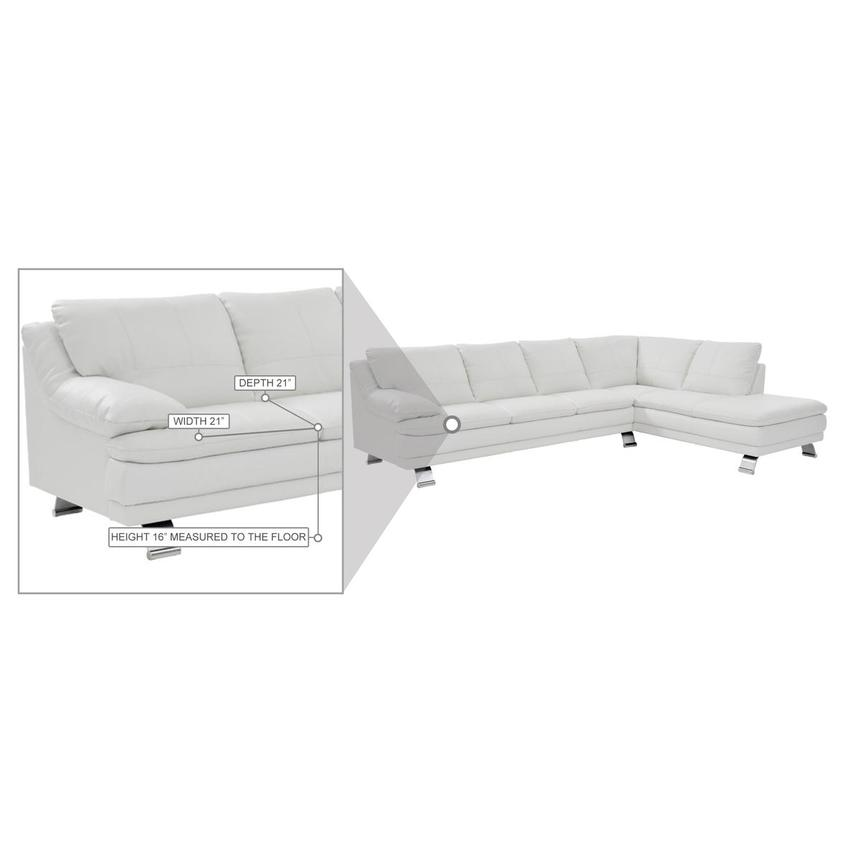 Rio White Leather Corner Sofa w/Right Chaise  alternate image, 8 of 8 images.