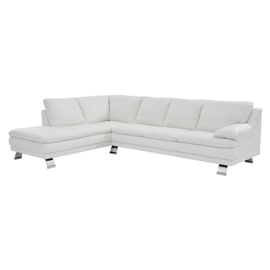 Rio White Leather Sectional Sofa w/Left Chaise