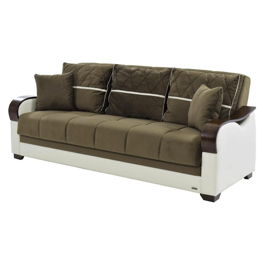 Bennett Brown Futon Sofa w/Storage  main image, 1 of 7 images.