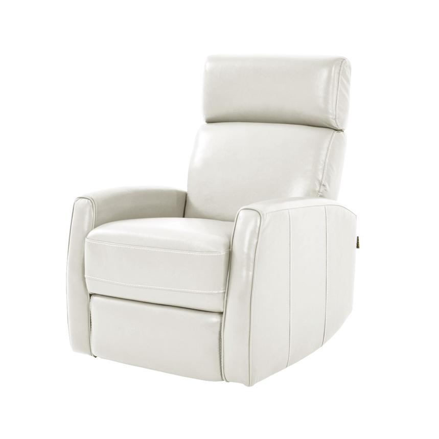 Lucca White Power Motion Leather Recliner  main image, 1 of 7 images.