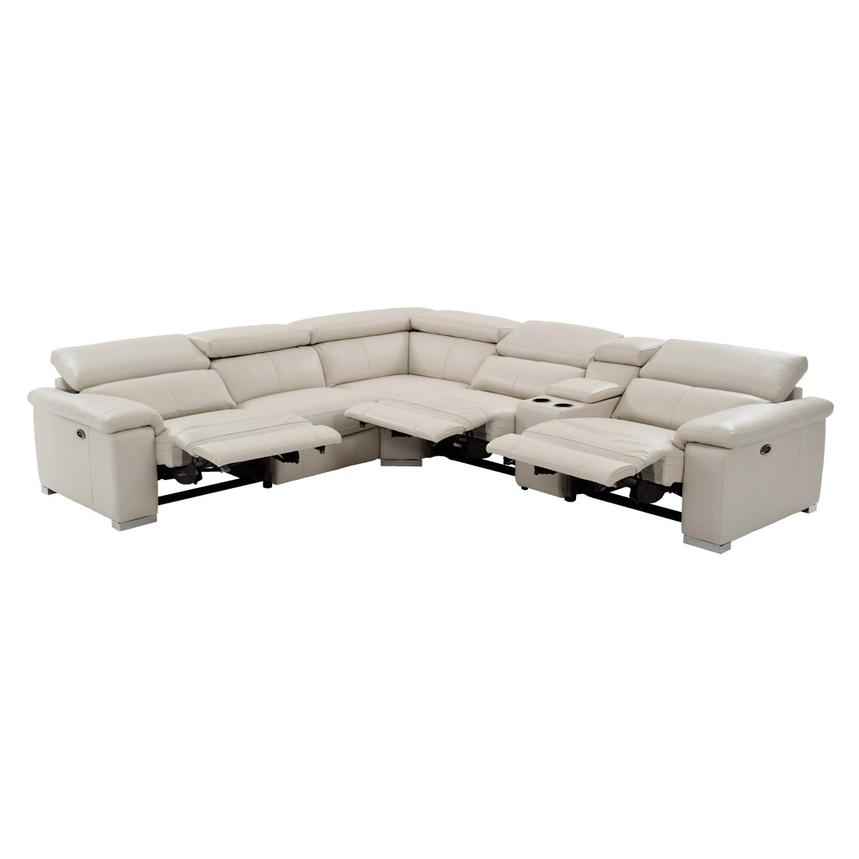 Nathan Cream Power Motion Leather Sofa w/Console  alternate image, 2 of 11 images.