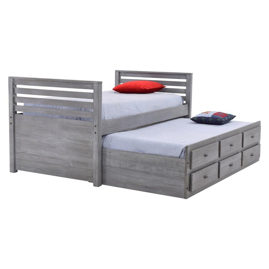 Montauk Gray Twin Storage Captain Bed Made in Brazil  main image, 1 of 8 images.