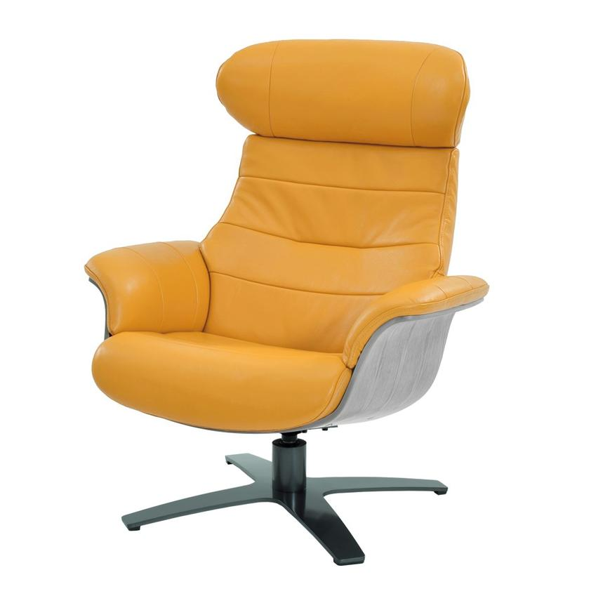 Enzo Yellow Leather Swivel Chair  main image, 1 of 9 images.