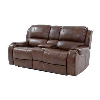 Durham Power Motion Leather Sofa w/Console