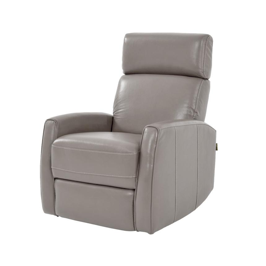 Lucca Gray Power Motion Leather Recliner  main image, 1 of 7 images.