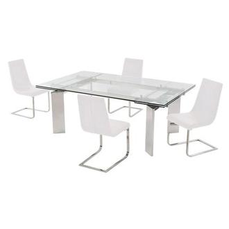 Cleo/Lea White 5-Piece Formal Dining Set