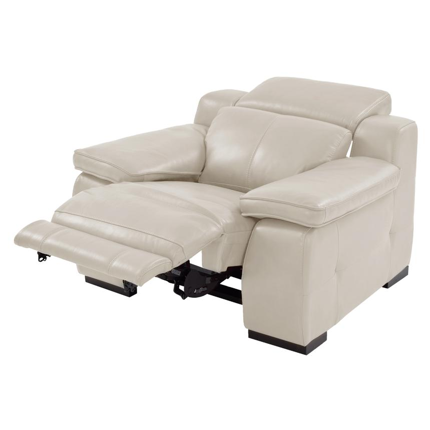 Gian Marco Cream Power Motion Leather Recliner  alternate image, 2 of 8 images.