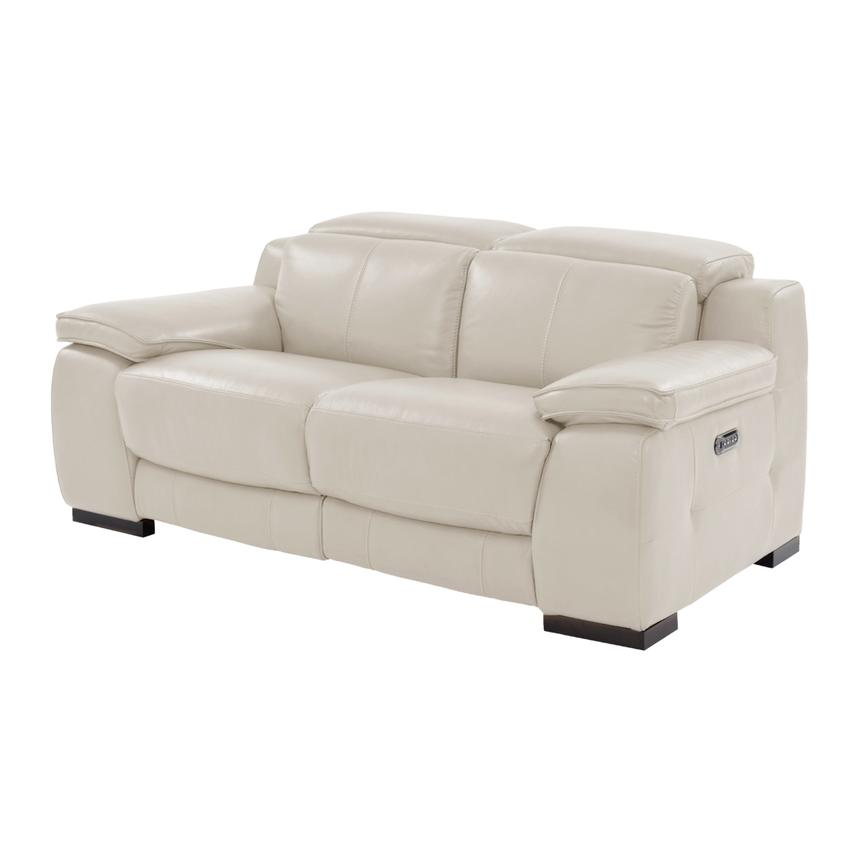 Gian Marco Cream Leather Power Reclining Loveseat  main image, 1 of 10 images.
