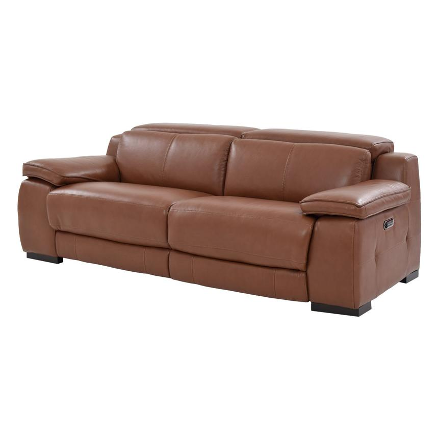 Gian Marco Tan Leather Power Reclining Sofa  main image, 1 of 8 images.
