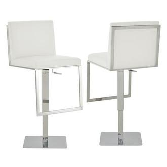 Aventura White Adjustable Stool