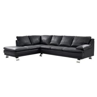 Rio Dark Gray Leather Corner Sofa w/Left Chaise