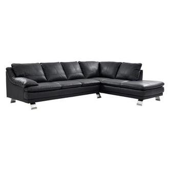Rio Dark Gray Leather Corner Sofa w/Right Chaise