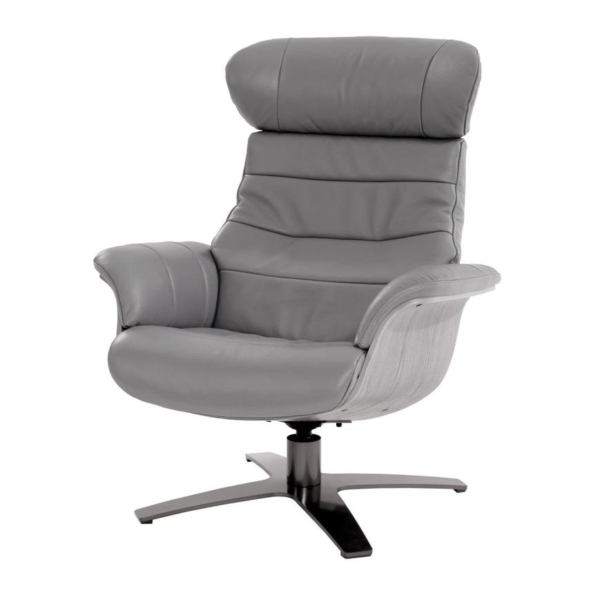Enzo Gray Leather Swivel Chair  main image, 1 of 9 images.