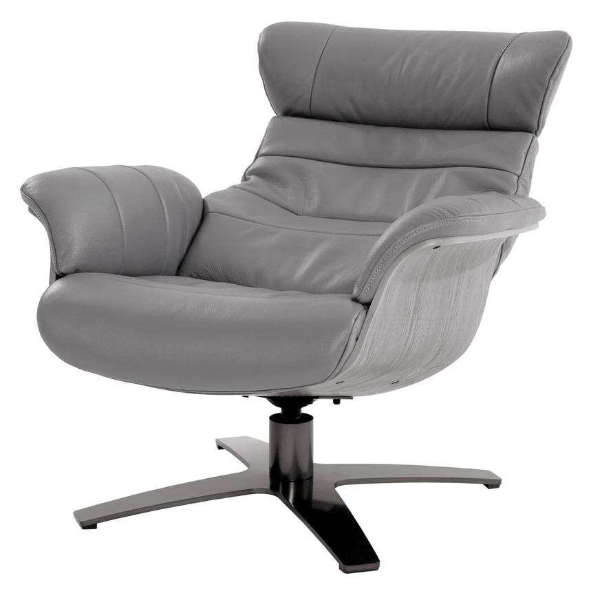 Enzo Gray Leather Swivel Chair  alternate image, 2 of 9 images.