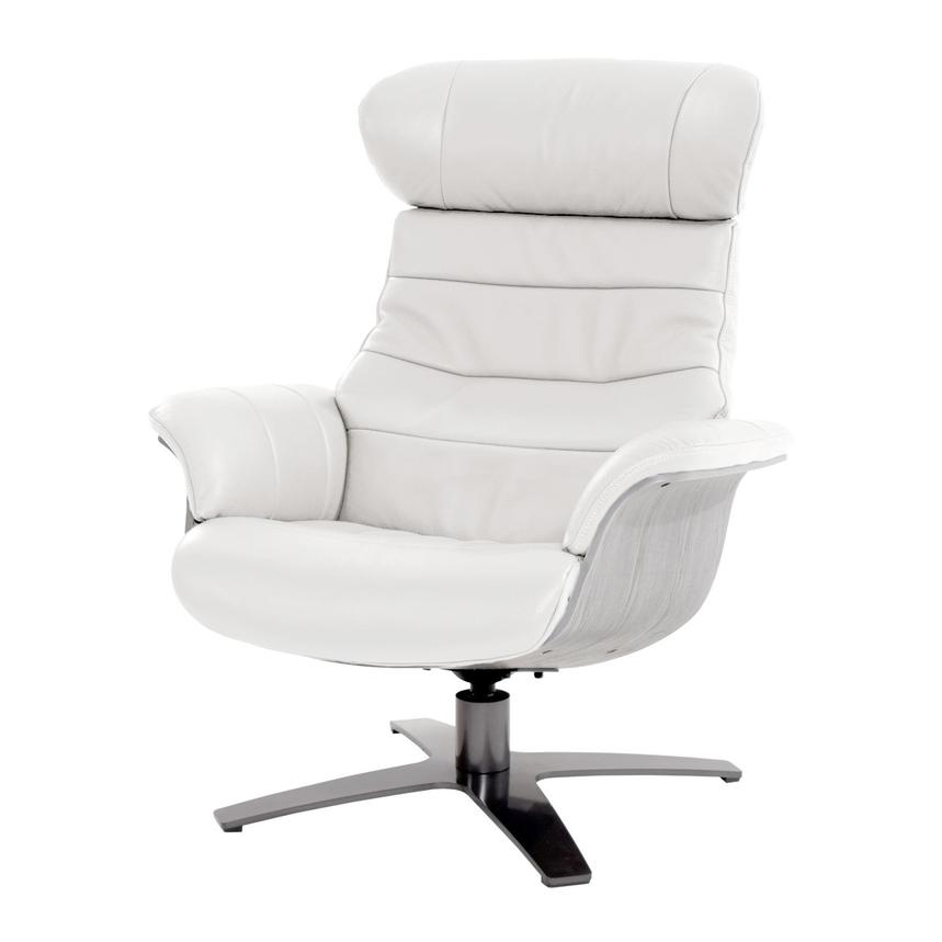 Enzo Pure White Leather Swivel Chair  main image, 1 of 10 images.