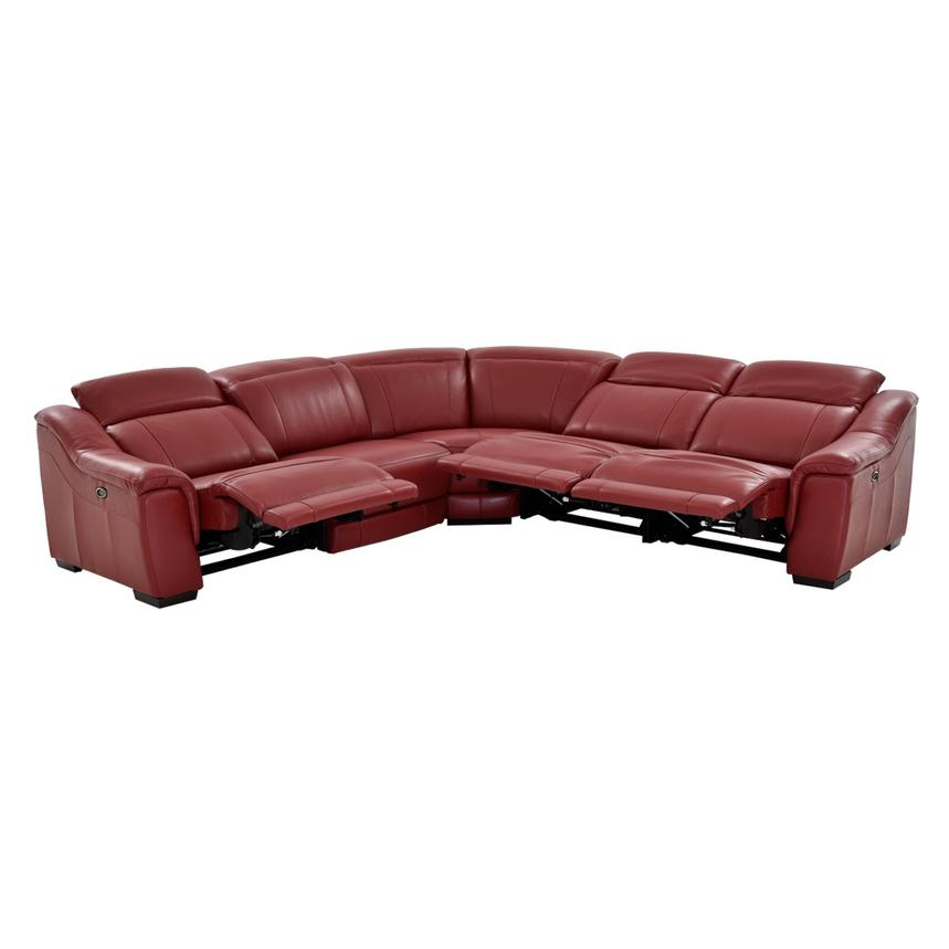 Davis Red Power Motion Leather Sofa w/Right & Left Recliners  alternate image, 2 of 11 images.
