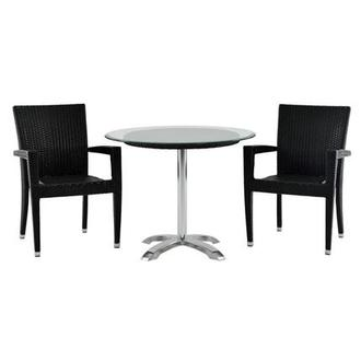 Gerald/Neilina Black 3-Piece Patio Set w/10mm Glass Top