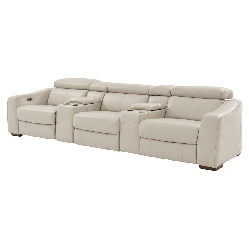 Delicieux James Cream Home Theater Leather Seating