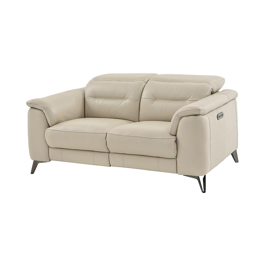 Anabel Cream Leather Power Reclining Loveseat  main image, 1 of 11 images.
