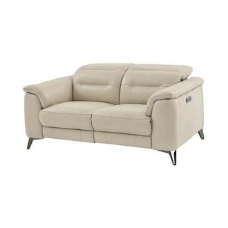 Anabel Cream Leather Power Reclining Loveseat