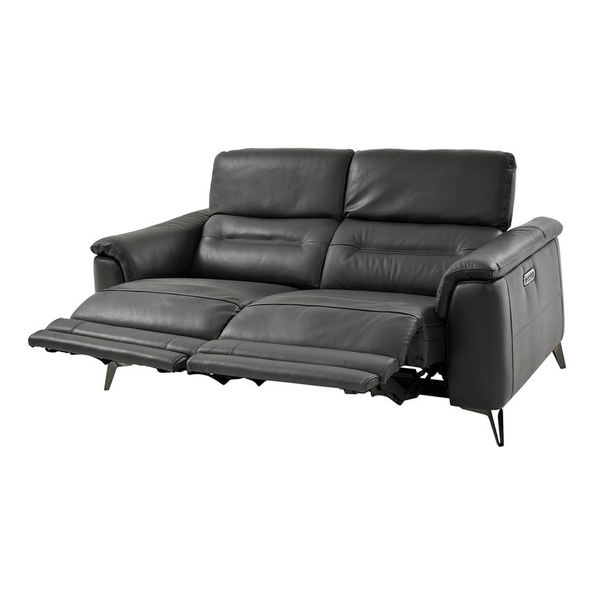 Anabel Gray Power Motion Leather Loveseat  alternate image, 2 of 9 images.