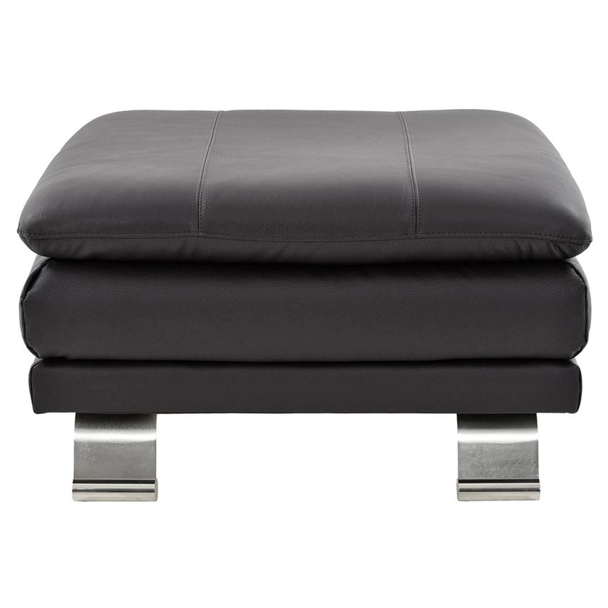 Rio Dark Gray Leather Ottoman  main image, 1 of 5 images.
