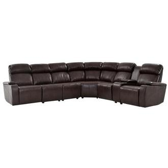 Magnetron Brown Power Motion Sofa w/Right & Left Recliners