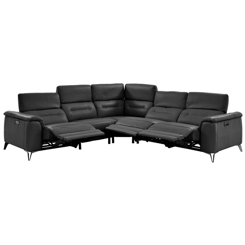 Anabel Gray Power Motion Leather Sofa w/Right & Left Recliners  alternate image, 2 of 11 images.