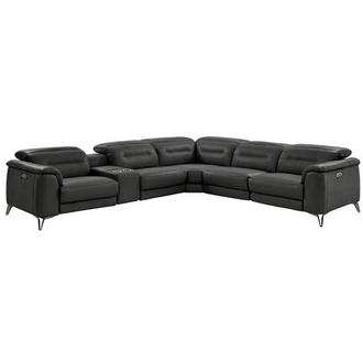 Anabel Gray Leather Power Reclining Sectional