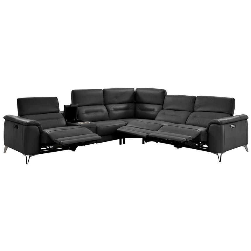 Anabel Gray Power Motion Leather Sofa w/Right & Left Recliners  alternate image, 2 of 12 images.