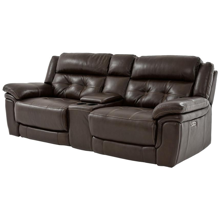 Stallion Brown Leather Power Reclining Sofa w/Console  main image, 1 of 9 images.