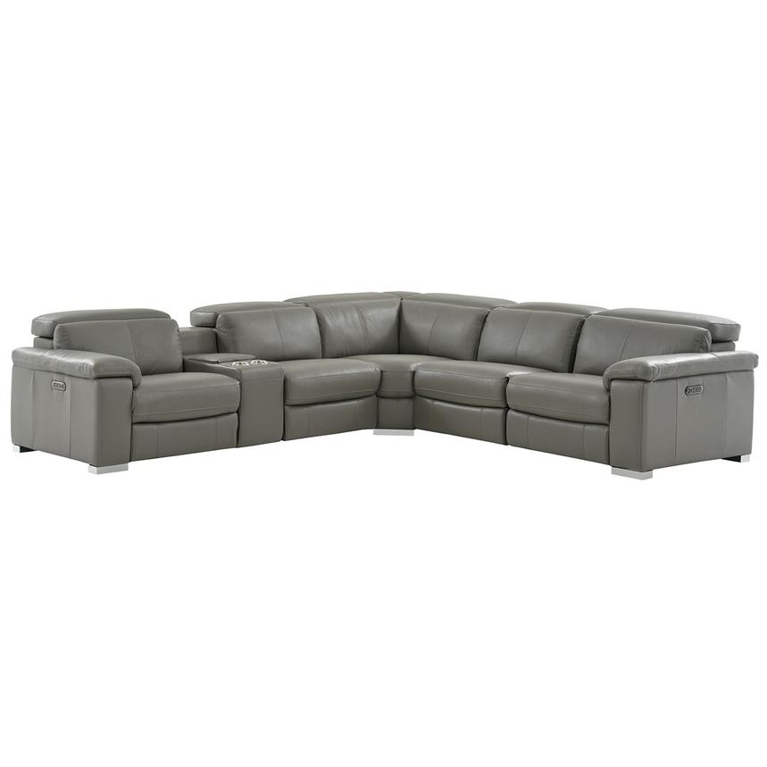 Charlie Gray Motion Leather Sofa W Right Left Recliners