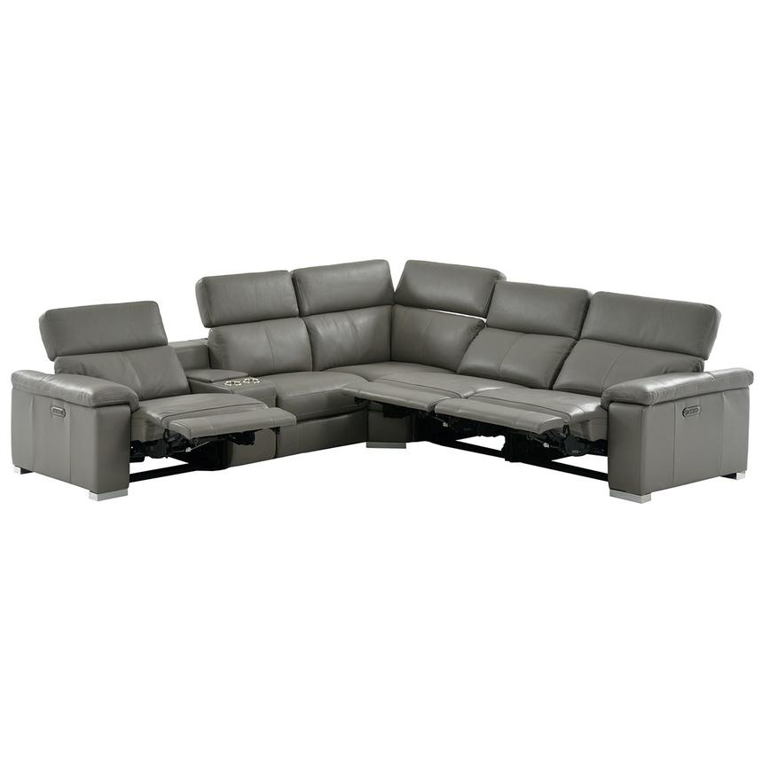 Charlie Gray Leather Power Reclining Sectional  alternate image, 3 of 13 images.