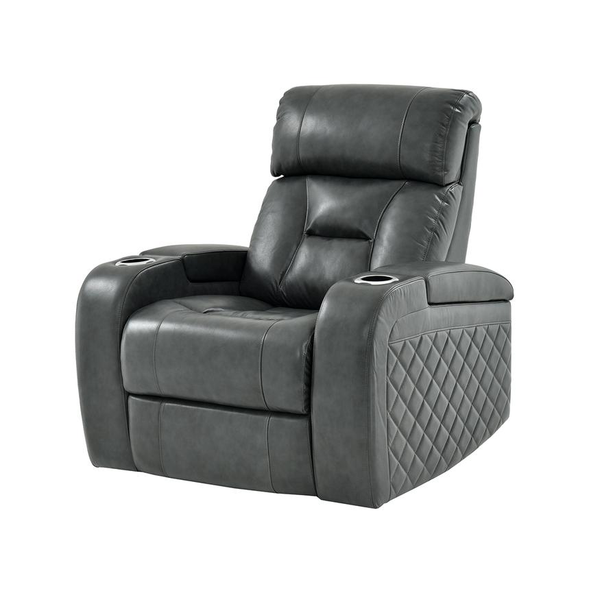 Gio Gray Power Motion Leather Recliner  main image, 1 of 11 images.