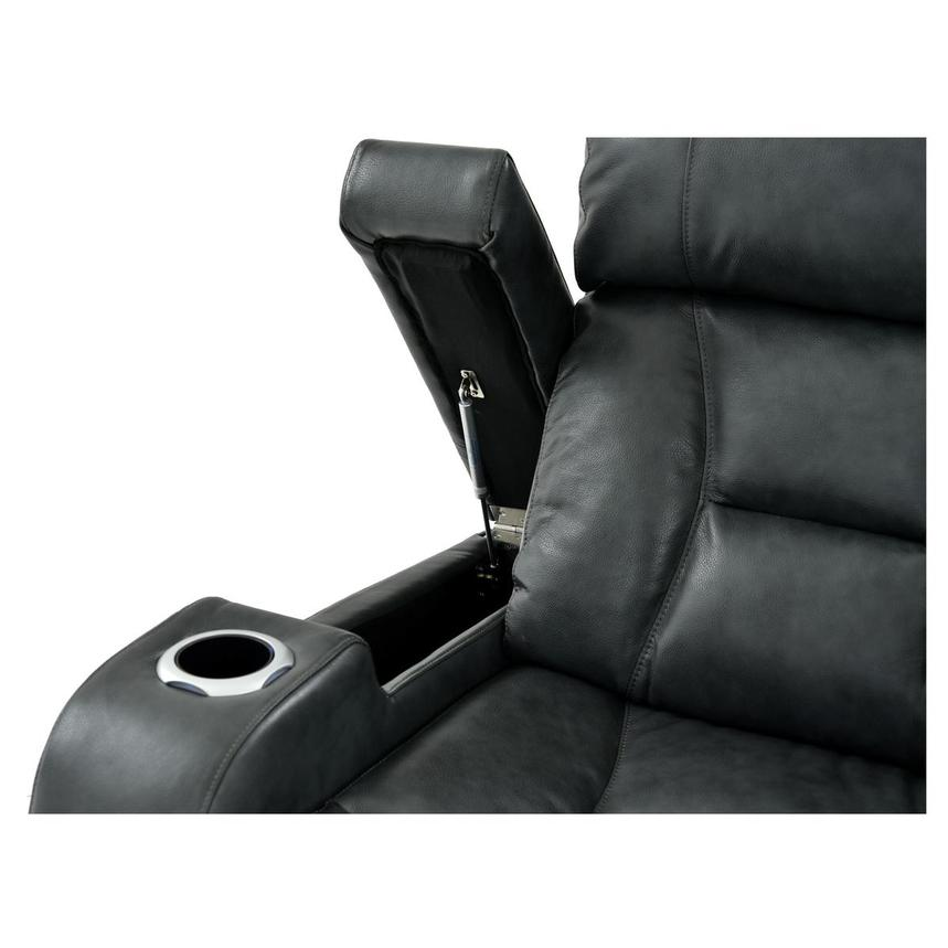Gio Gray Power Motion Leather Recliner  alternate image, 6 of 11 images.