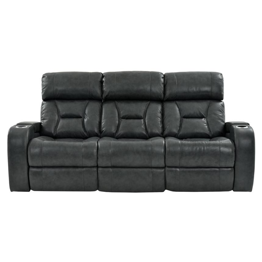 Gio Gray Leather Power Reclining Sofa  main image, 1 of 13 images.