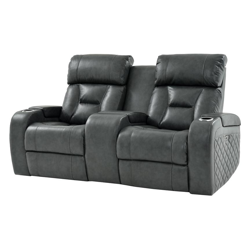 Gio Gray Power Motion Leather Sofa w/Console  main image, 1 of 12 images.