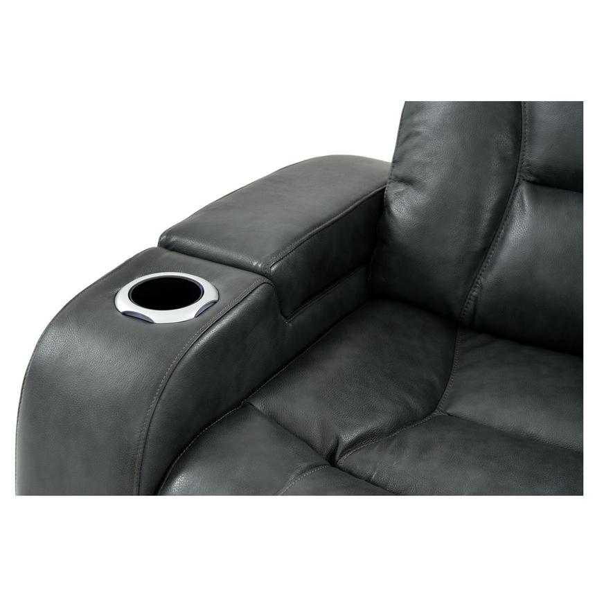Gio Gray Leather Power Reclining Sofa w/Console  alternate image, 7 of 15 images.