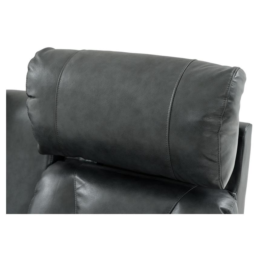 Gio Gray Power Motion Leather Sofa w/Console  alternate image, 11 of 12 images.