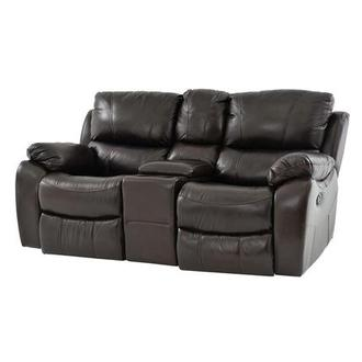 Mack Brown Recliner Leather Sofa w/Console