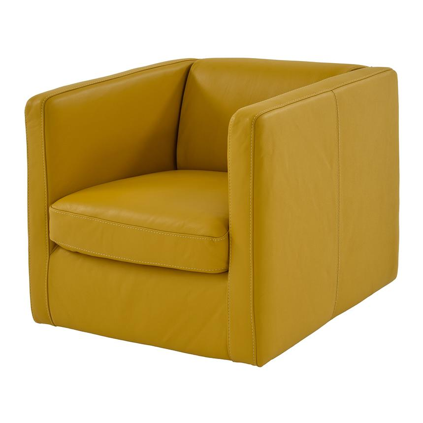 Cute Yellow Leather Swivel Chair  main image, 1 of 6 images.