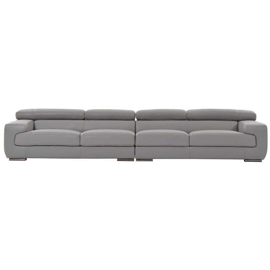 Grace Light Gray Oversized Leather Sofa  main image, 1 of 7 images.
