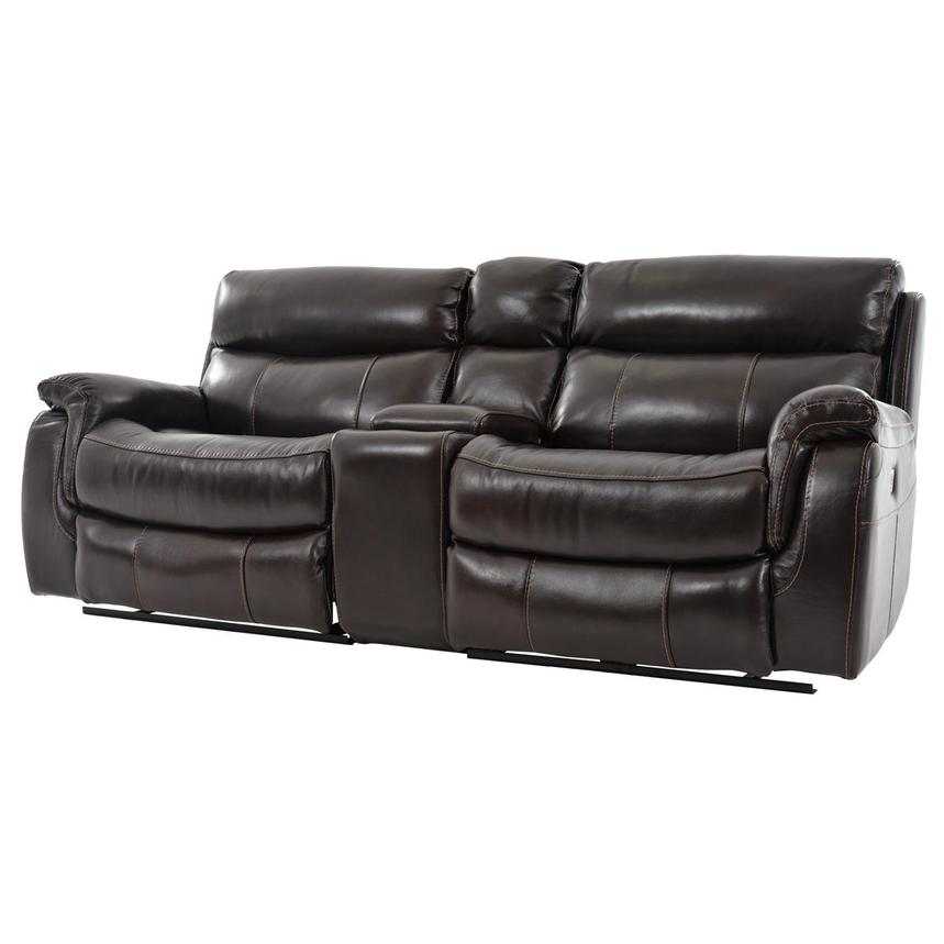 Jeremi Power Motion Leather Sofa w/Console  alternate image, 2 of 10 images.