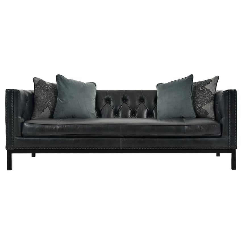 Sophia Black Leather Sofa  main image, 1 of 7 images.