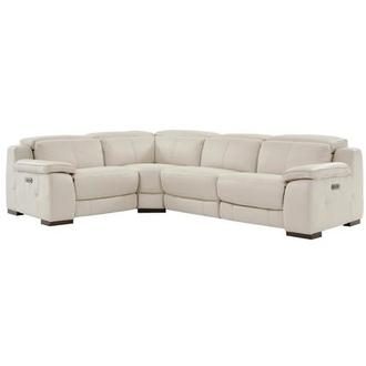 Gian Marco Cream Leather Power Reclining Sectional