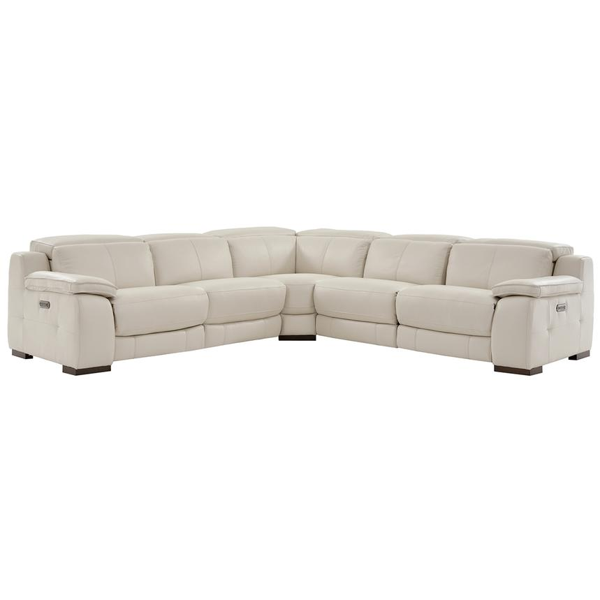 Gian Marco Cream Leather Power Reclining Sectional  main image, 1 of 8 images.