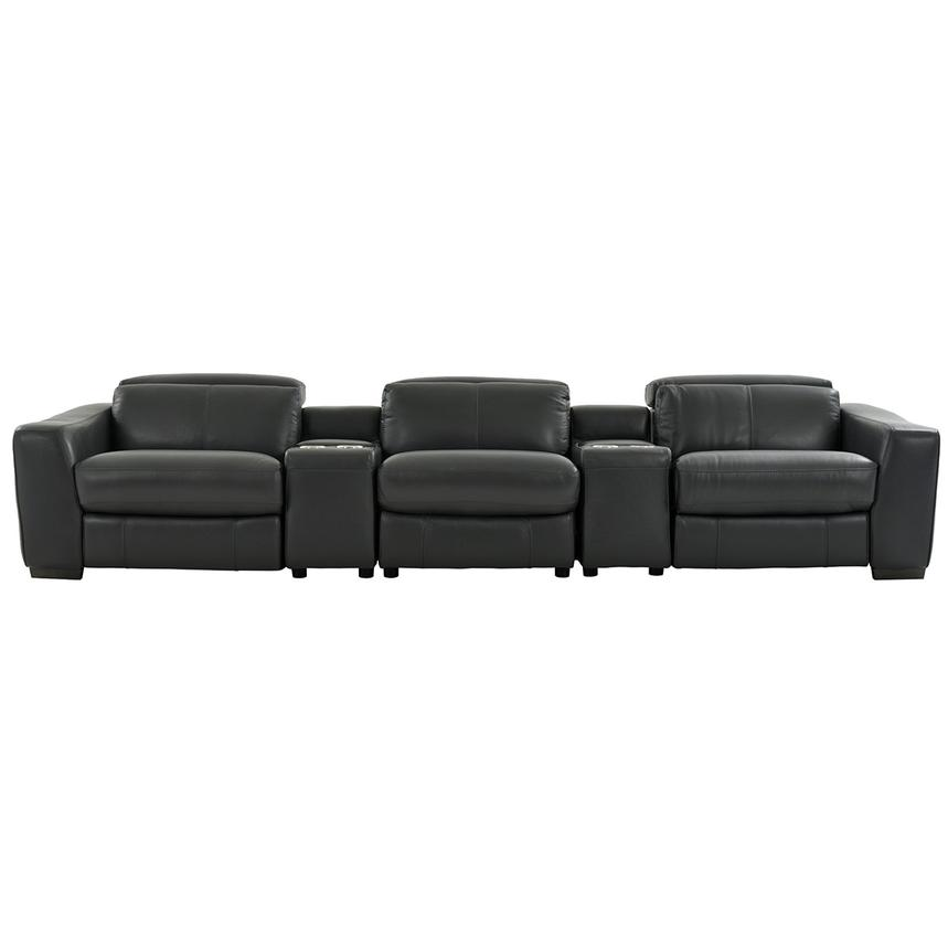 Jay Dark Gray Home Theater Leather Seating  main image, 1 of 8 images.